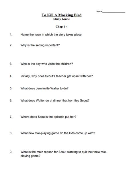 to kill a mockingbird study guide questions