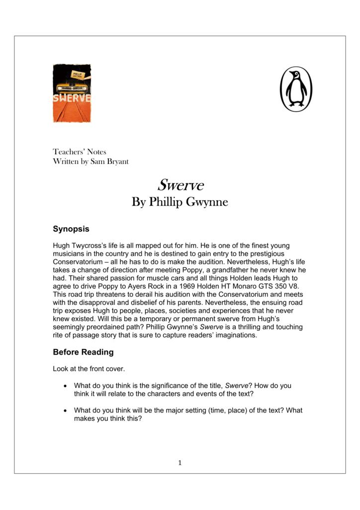 swerve phillip gwynne study guide