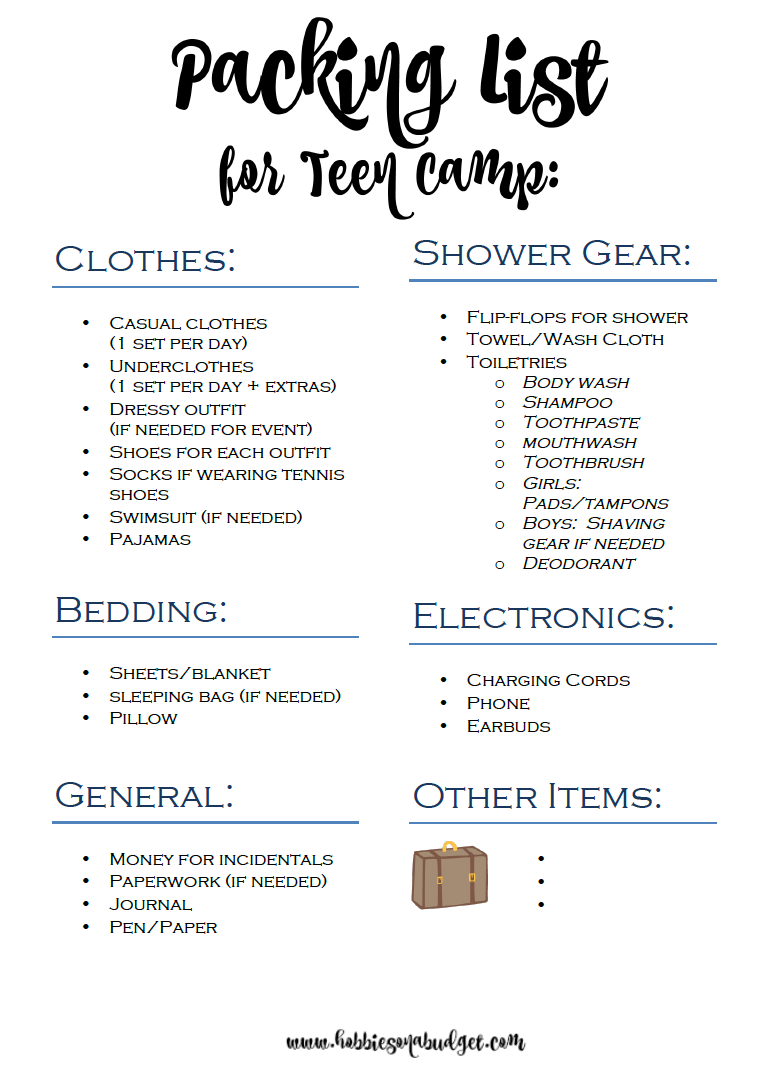 girl guide camp packing list