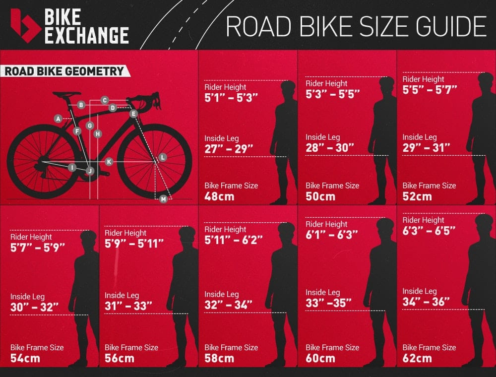 bike frame size height guide