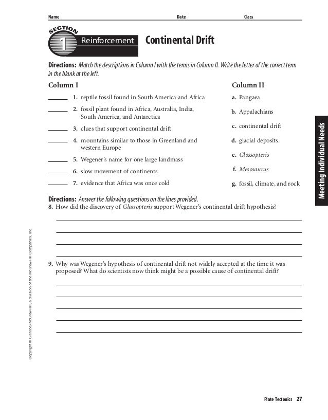 plate tectonics study guide answer key