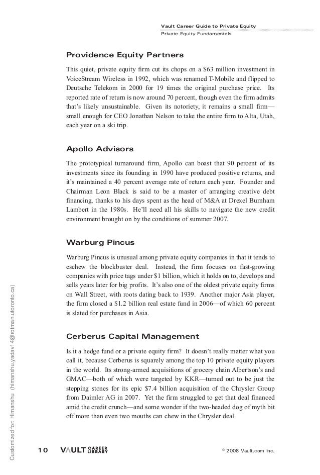 vault guide to private equity